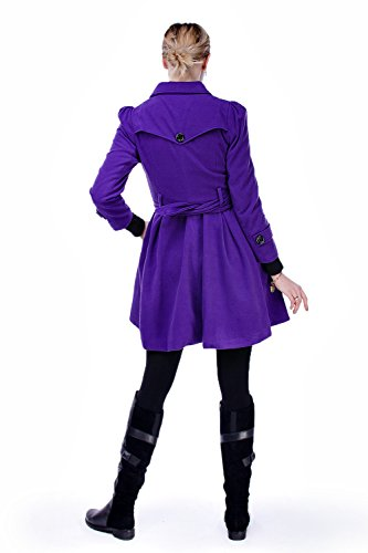 Buckle Belt Women Trench Style Double Long Coat Spring Casual with Sleeve Dresses Outwear Breasted ForeMode Purple Mid Long pY0wxqq