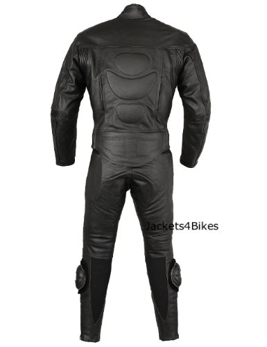 New Men's 2PC Motorcycle Leather Riding Black Armor Suit 2 PC Two Piece US 46