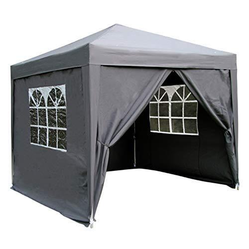 Airwave Pop-Up Pavillon, 2,5 x 2,5 m, grau, wasserfester GartenPavillon, 2 Windstangen und 4 Gewichte für die Beine