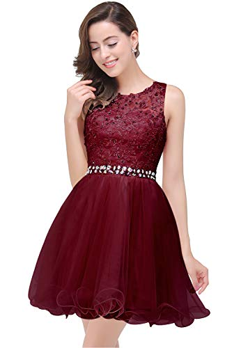 MisShow Short Rhinestone Embroidery Quinceanera Dresses for Girls Burgundy 16