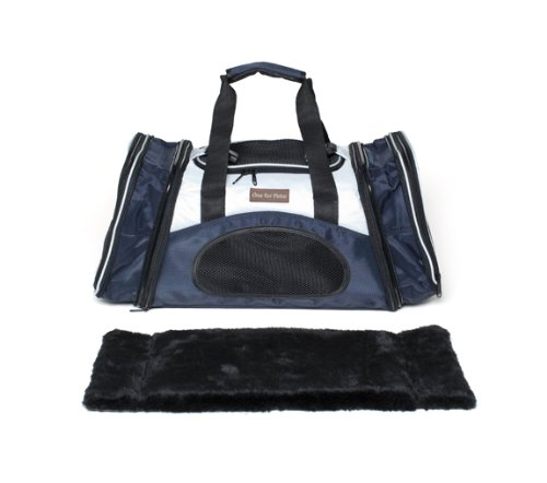 One for Pets The One Bag Expandable Pet Carrier, Large, Navy - Car & Luggage Fixture Included by One for Pets (Image #5)