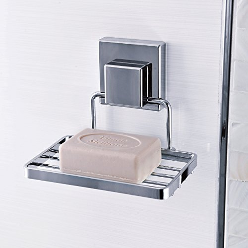 Goodia Suction Cup Soap Dish Holder by Bathroom Accessories - Strong Stainless Steel Sponge Holder for Bathroom & Kitchen - Soap Caddy Can be Mounted on Any Clean Flat Smooth Surface - (Chrome)