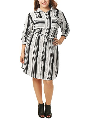Button Dress Shirt Front Belted - Agnes Orinda Women Plus Size Striped Tie Waist Shirt Dress Black White 3X