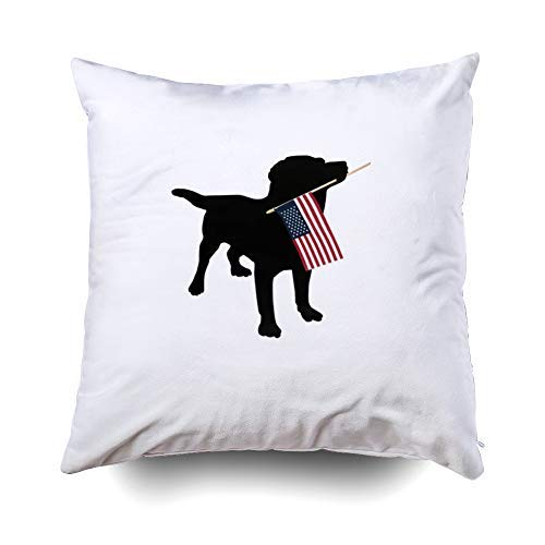 - Musesh Black lab Dog with USA American Flag 4th of July Accent Cushions Case Throw Pillow Cover for Sofa Home Decorative Pillowslip Gift Ideas Household Pillowcase Zippered Pillow Covers 18X18Inch