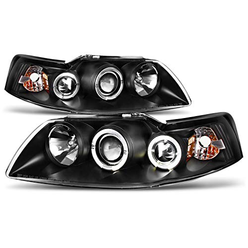 (For Ford Mustang Coupe Black Bezel Dual Halo 2 in 1 Design Projector Headlights w/Corner Signal Lamps)