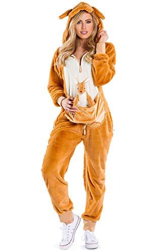 Funny Animal Kangaroo Costume for Women - Comfy Kangaroo Onesie Outfit for Halloween: Small