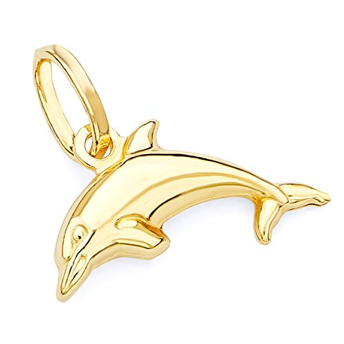 (14k Yellow Gold Dolphin Charm Pendant)