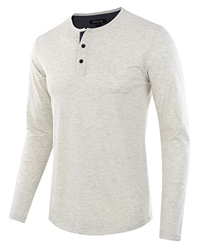 (HETHCODE Men's Classic Comfort Soft Regular Fit Long Sleeve Henley T-Shirt Tee H.Oatmeal/C.Blue S)