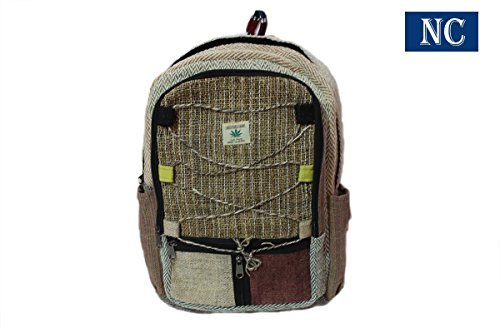 Pure Hemp Multi Pocket Backpack Handmade Nepal with Laptop Sleeve – Fashion Cute Travel School College Shoulder Bag / Bookbags / Daypack