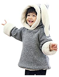 Kacakid Warm Coat Baby Girls Sweet Style Cute Rabbit Ears Outerwear for Autumn