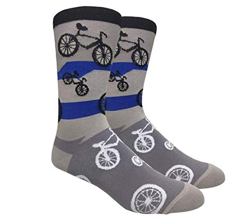 Fine Fit Men's Novelty Fun Socks (Bicycle Grey)