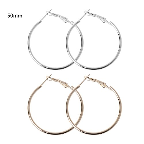 Earrings Hoop 5mm Medium (Kofun Earrings, 2 Pairs Super Big Round Circles Hoop Earrings Golden Silvery Exaggerated Jewelry Gold + Silver 5 Mm)