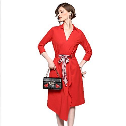 Women`s Cotylédons Robes De Couleur Unie Irrégularité Rouge Robe Col Polo
