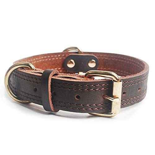 Full Face Leather - big face cat Full Grain Cow Leather Dog Collars Military Grade Training Dog Collar for Small/Medium/Large Dogs Soft and Durable Real Leather/Brown (Large)