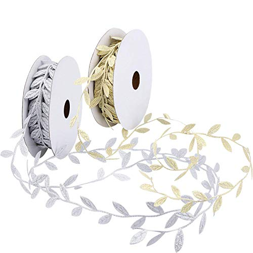 10 Yards DIY Leaves Leaf Trim Ribbon Tapes Napkin Rings Leaves Garland, DIY Craft Sewing Wedding Party Baby Shower Decoration Gold+Silver