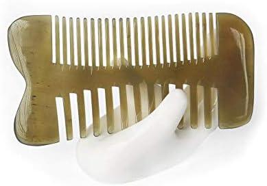 Qukick バッファローホーンのひげの櫛の倍の側面の良いおよび広い歯の帯電防止口ひげのポケット櫛 (色 : 5573)