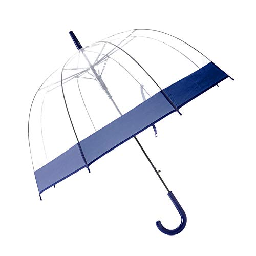 HAOCOO Colorful Trim Clear Umbrella,Bubble Transparent Fashion Dome 8 Stick Umbrella Windproof for Outdoor Weddings or Events (Navy) ()