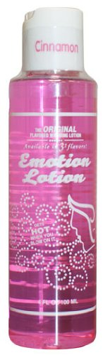 Edible Water Basesd Original Flavored Warming Massage Oil CINNAMON by Emotion Lotion 4oz by Emotion Lotion