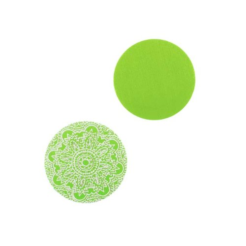 Circle Stamping Lime Green W/ Ornamental Pattern 16mm (Lillypilly Aluminum Circle)