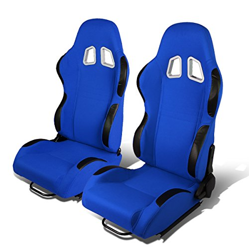 Spec Racing Universal - Set of 2 Universal Type-R Woven Fabric Reclinable Racing Seats w/Sliders (Blue Body/Black Trim)