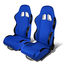 Set of 2 Universal Type-R Woven Fabric Reclinable Racing Seats w/ Sliders (Blue Body/Black Trim)