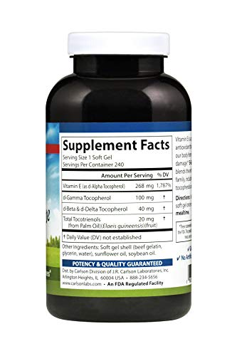 Carlson - E-Gems Elite, 400 IU Vitamin E with Tocopherols & Tocotrienols, Heart Health & Optimal Wellness, Antioxidant, 240 soft gels by Carlson (Image #2)
