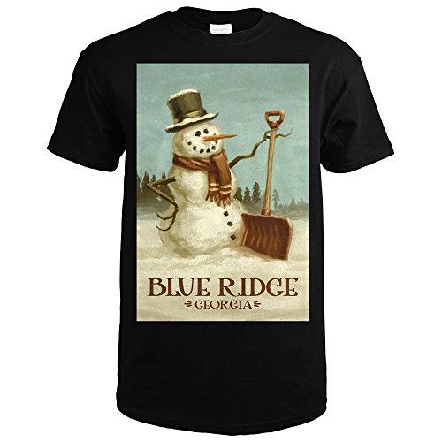 Blue Ridge  Georgia   Snowman   Christmas Oil Painting  Black T Shirt Xx Large