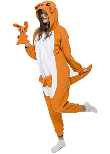 NEWPJS Kangaroo Onesie Adult Women Men Halloween Animal