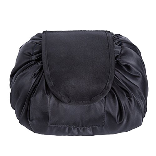 (Large Capacity Magic Easy Packed Trable Pouch Cosmetics Bags Stationary Pouch (black))