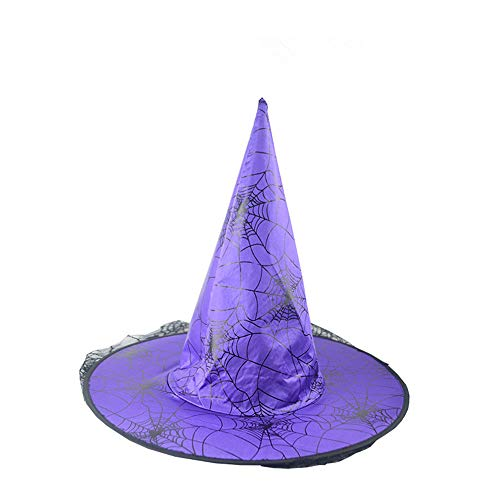 Witch Hat,Adult Lace Spider Web Veil Wizard