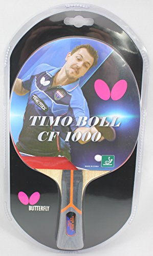 Butterfly Timo Boll Carbon Fiber Table Tennis Racket - 1 Ping Pong Paddle - ITTF Approved - Sponge and Pan Asia Rubber - Carbon Blade by Butterfly