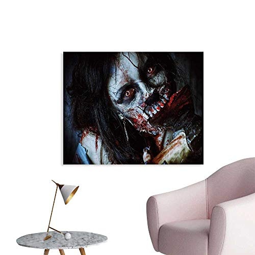 Zombie Decor Wall Decoration Scary Dead Woman with Bloody Axe Evil Fantasy Gothic Mystery Halloween Picture Wallpaper Mural W24 xL16 ()