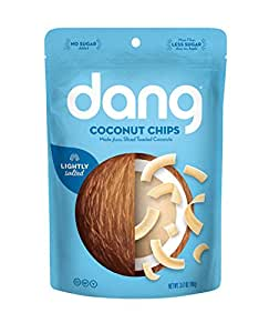 Dang Gluten Free Toasted Coconut Chips, Lighltly Salted, Unsweetened, 3.17 Ounce Bags