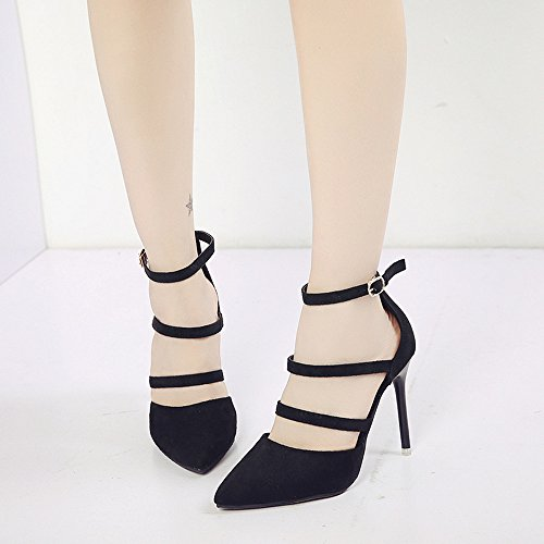 BUIMIN Zapatos Zapatos Mujer De Tacón Altos Ponleví La Correa De La Hebilla Cuero Artificial Elegante De Moda Talla 35-40 (recomendamos Que Los compradores elijan Una Talla Mayor.) (39, Negro)