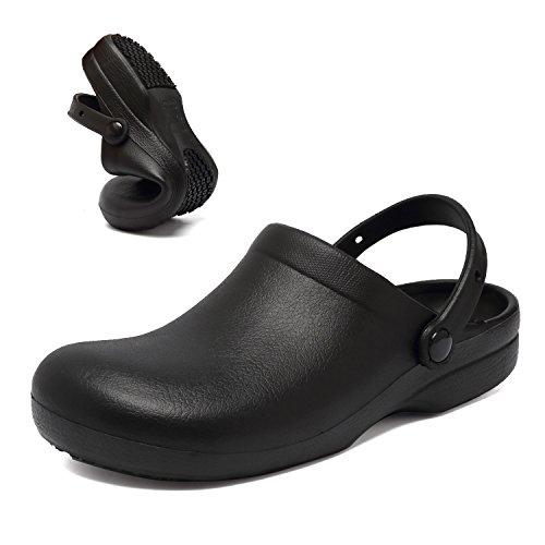 FANTURE Slip Resistant Chef Clog Mule - Restaurant Non Slip Work Shoes Black and White for Men Women