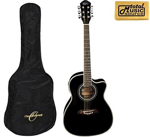 Black Oscar Schmidt OG1CEB 3//4 Size Dreadnought Acoustic Electric Guitar