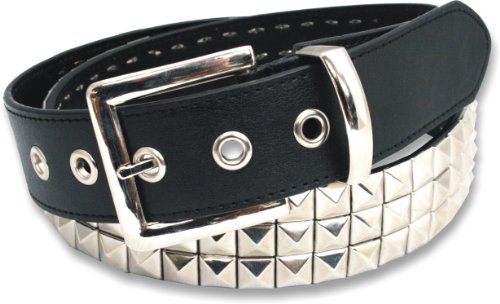 3 Row Pyramid Studded Stud Black Belt Medium (32