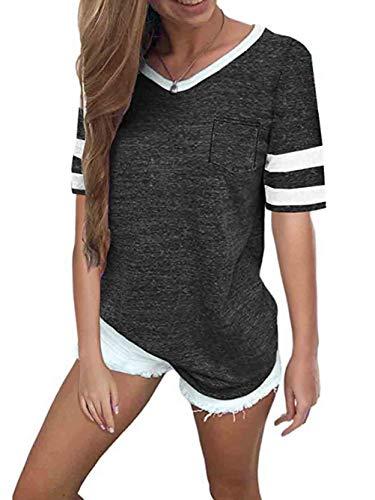 (Famulily Baseball Tees for Women Short Sleeve Pockets Front Stripe Colorblock V Neck Tshirt Blouse Charcoal 2XL)