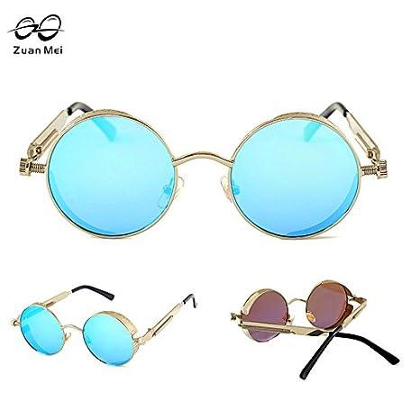 853b64cabe Generic NO 12   Zuan Mei Gothic Steampunk Mens Sunglasses Coating Mirrored  Sunglasses Round Circle Sun glasses Retro Vintage Gafas Masculino Sol   Amazon.in  ...
