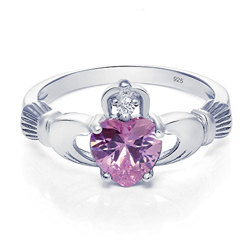 Sterling Silver Claddagh Promise Ring For Her with Simulated Light (Claddagh Pink Sapphire Ring)