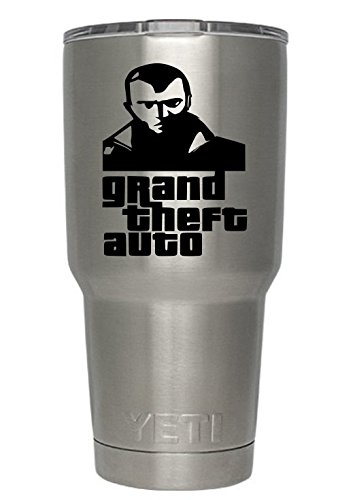 (Grand Theft Auto Decals for Yeti cups BLACK (Tumbler not included) - Sticker for Tumbler - Decals for tumblers - Cup Decals - Mug Decals - Car Sticker - Auto decals - monogram (Black) )