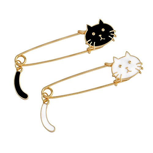 Fashion Cartoon Enamel Brooch Pins Set for Unisex Child Women's Clothing Decorate (2pcs Black&White Cat Set) ()