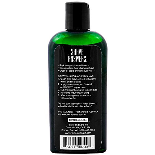 Foster and Lake, SHAVE ANSWERS, Shaving Oil, 4 fl. ozs.-- All-Natural and Unscented