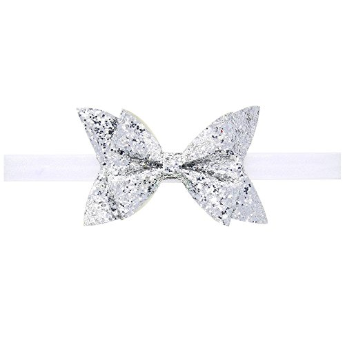 Price comparison product image Baby Shiny Bow Knot Headband Elasticity Hair Band Infant Kids hair accessories (Silver)