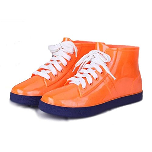 Korean ladies fashion rain boots high 11.3cm Orange 5T0dSezOaF