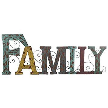 Multi-color Metal Family Word Wall Art with Swirl Design (Signs Word Yellow)