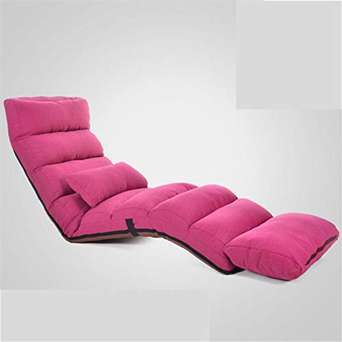 (ZZSF Modern Lazy Sofa Bed Lounge Upholstered Chaise Indoor Living Room Reclining Chair 5 Color Floor Folding Adjustable Sleep Indoor Lounger Pink)