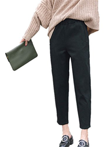 Price comparison product image JIANGTAOLANG Winter Thicker Wide Leggings Pants Women Long Warm Leisure Pants Sweatpants Black XL