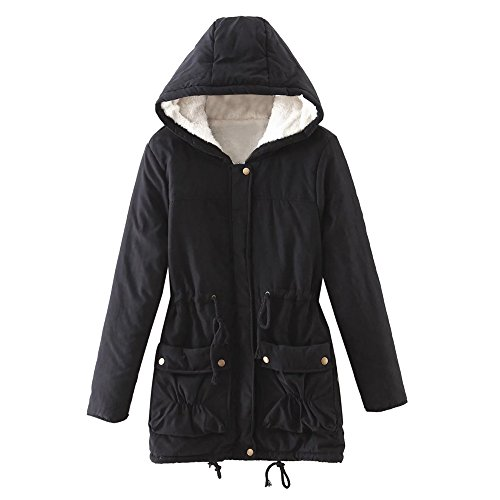 Outerwear Long Long Hoodies Parka Overcoat Slim Sleeve Hooded Solid Thick Casual Black Zipper Loose Womens Outwear Pockets Winter Coats Oversize Autumn Faux Belted Fur Warm Girls MIRRAY with z1q8W