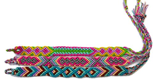 Moose546 Handmade Friendship Cord Bracelets Multi Color Set of 3 with a Tied Loop – A